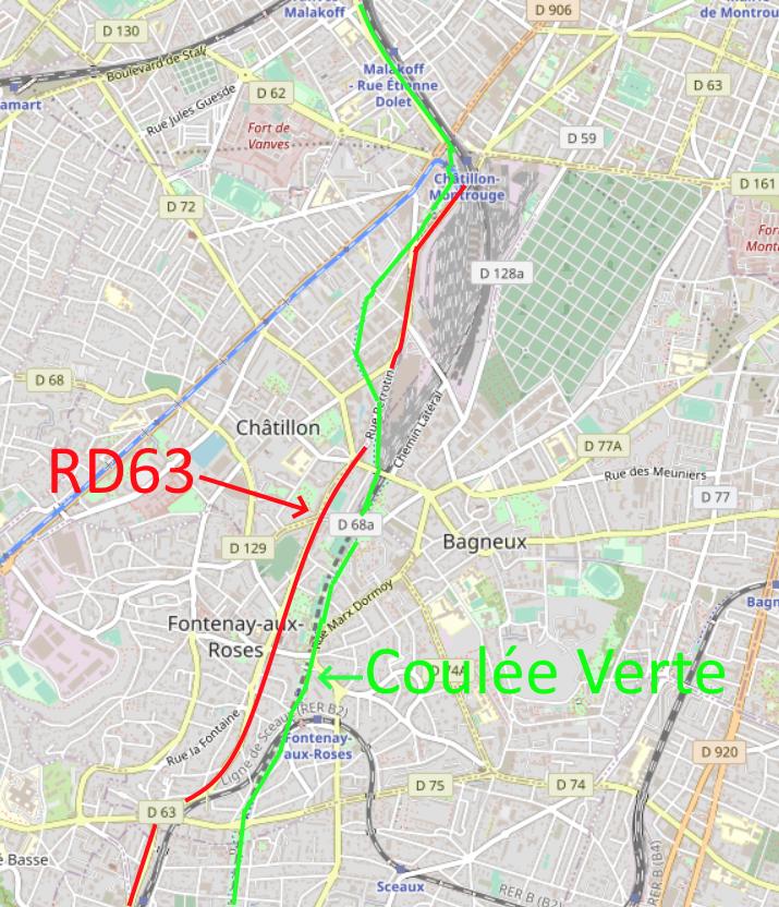 Le projet du doublage de la Coulée Verte visualisé : les vélos pourront emprunter les futures pistes cyclables en sécurité sur la D63 entre Châtillon, Fontenay-aux-Roses et Sceaux.
