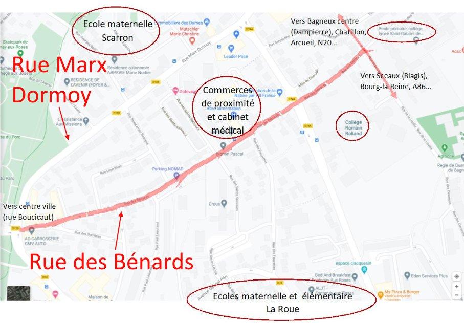La rue des Bénards devient une « départementale bis » lorsque la rue Marx Dormoy est congestionnée.